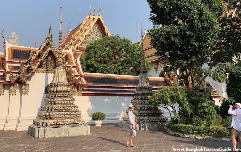 Tourists at the Wat Pho temple in Bangkok